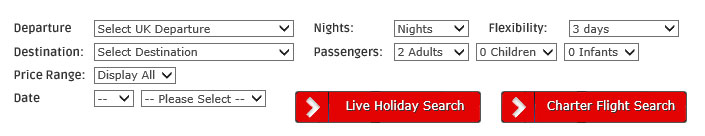 Live Holiday & Charter Flight Search